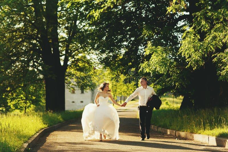 新婚佳偶沿道路跑在公园在晚上 库存图片