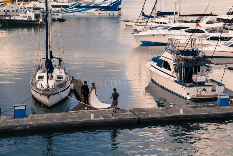 新婚佳偶照相讲席会在船坞 库存图片