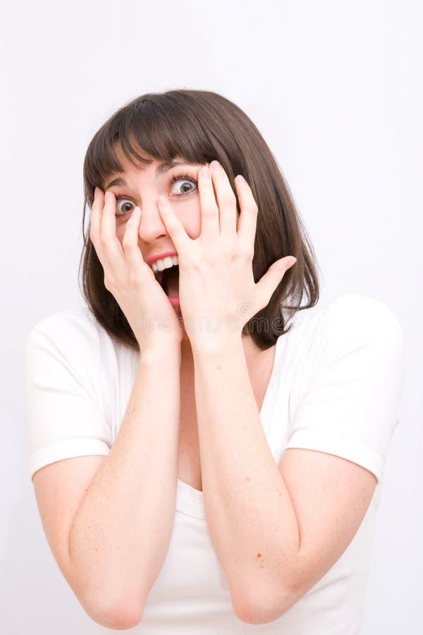 新害怕的妇女 免版税图库摄影