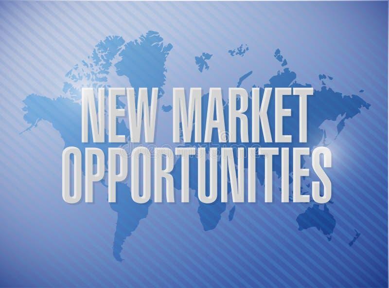 新市场机会世界地图标志概念 皇族释放例证