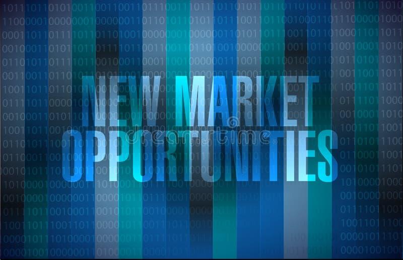 新市场机会二进制标志概念 皇族释放例证