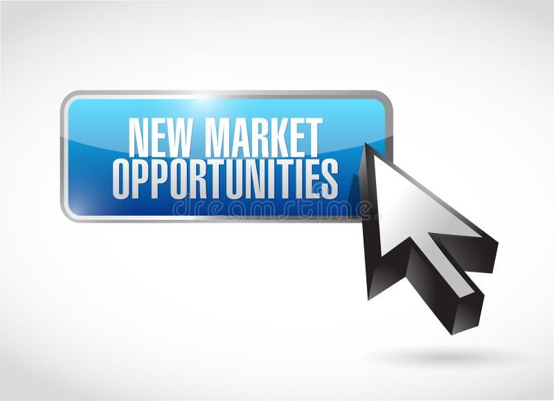 新市场机会按钮标志概念 库存例证