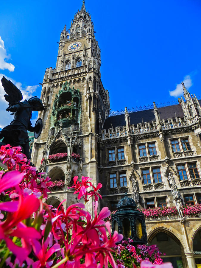新市镇霍尔在Marienplatz -巴伐利亚-慕尼黑,德国 库存图片