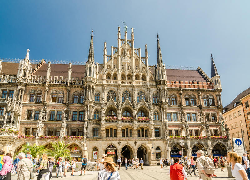 新市镇霍尔是城镇厅在Marienplatz的北部在慕尼黑,巴伐利亚 免版税库存照片