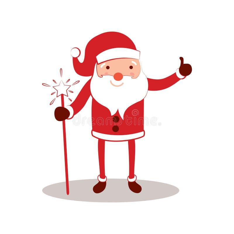 新年与动画片父亲弗罗斯特圣诞节礼品券的贺卡与圣诞老人 寒假与Ded莫罗的Xmas明信片 库存例证