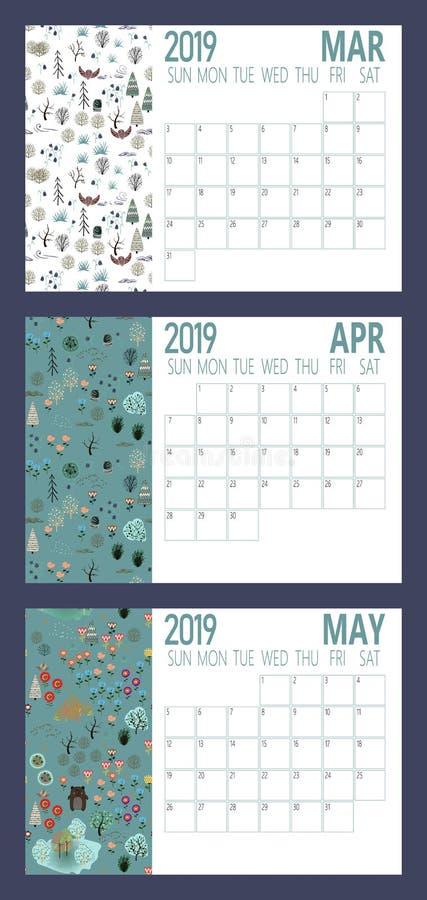 2019新年与森林A4大小的日历板料传染媒介  库存例证