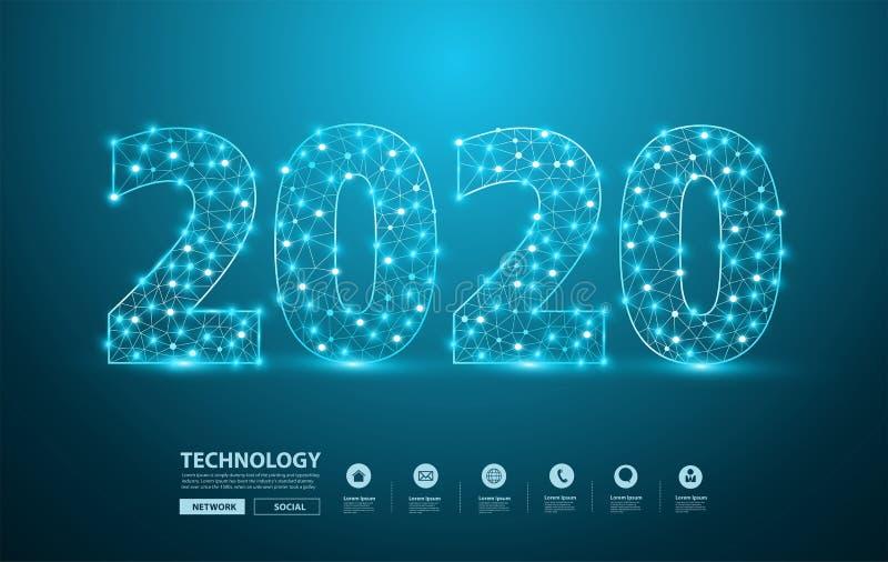 2020新年与滤网时髦的字母表信件数字的文本设计,与连接的图表背景通信结构 向量例证