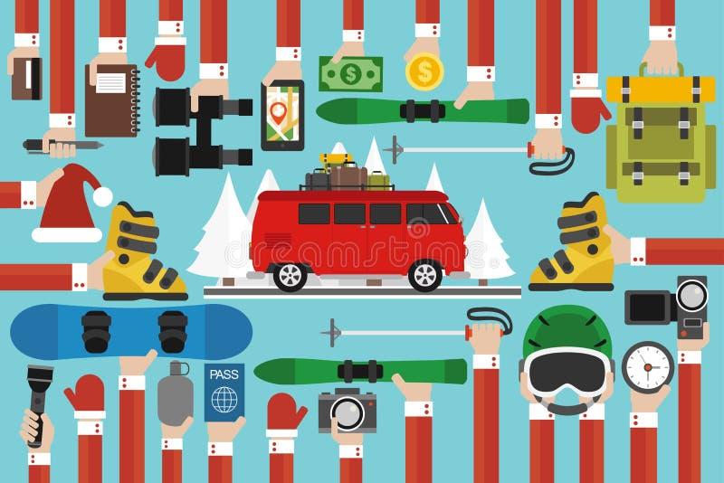 新年与红色旅行公共汽车的旅行舱内甲板 库存例证
