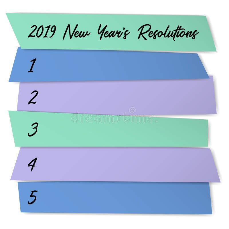 新年决议列出计划的传染媒介模板 库存例证
