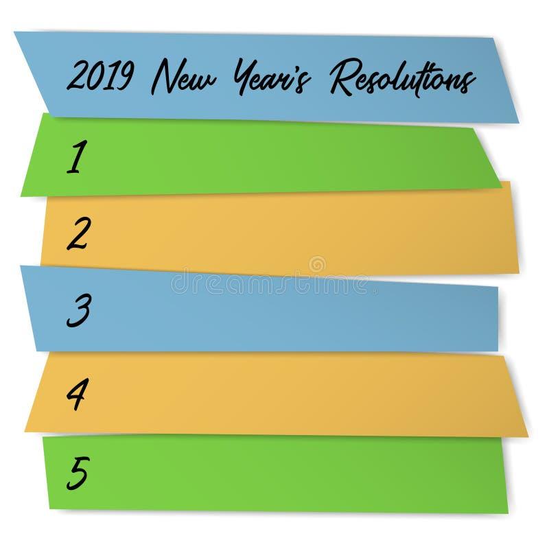 新年决议稠粘的笔记传染媒介模板 向量例证