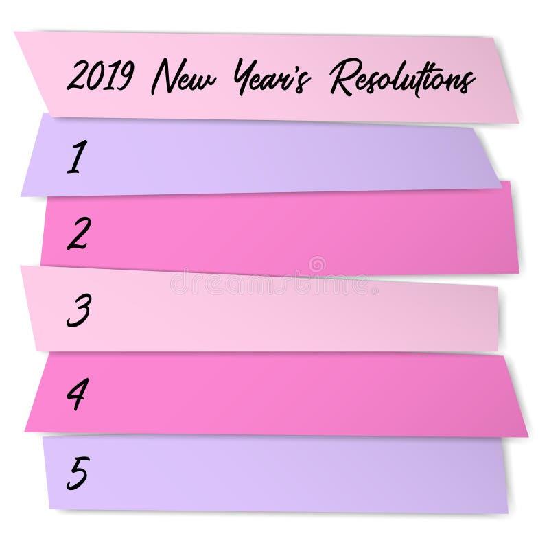 新年决议稠粘的笔记传染媒介模板 库存例证