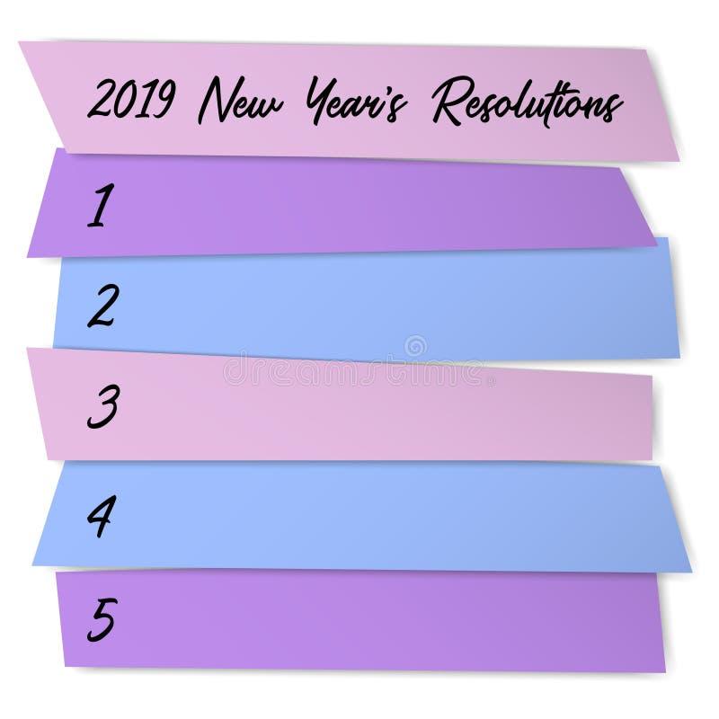 新年决议自我改善模板 向量例证