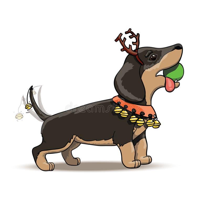 新年动画片达克斯猎犬小狗圣诞老人鹿 向量例证
