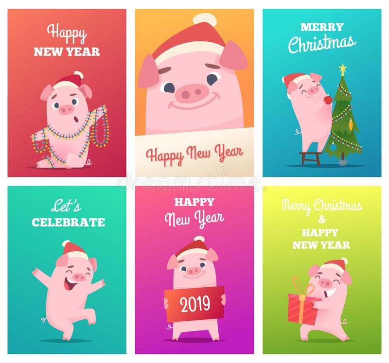新年卡片模板 与猪公猪肉猪小猪字符的庆祝滑稽的徽章导航设计项目 库存例证