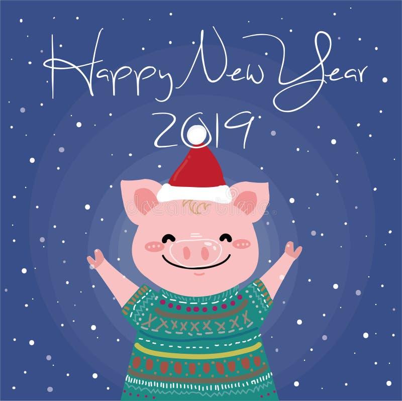 新年卡片的愉快的桃红色猪 库存例证
