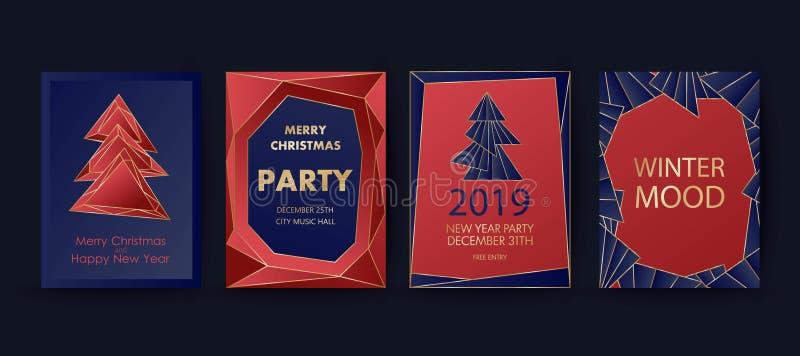新年和圣诞快乐集会邀请,背景 与假日树的几何艺术样式设计 皇族释放例证