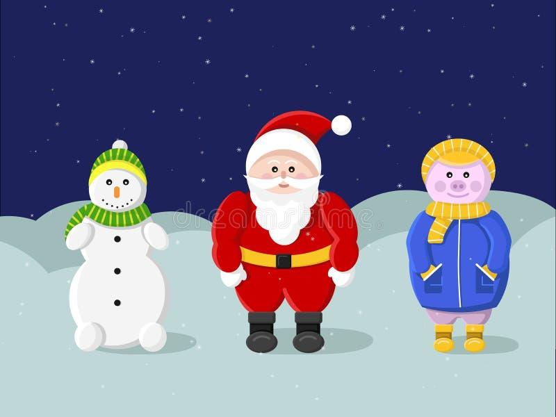 新年和圣诞快乐 克劳斯・圣诞老人 库存例证