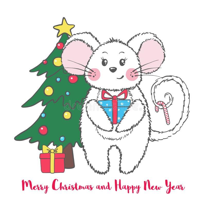 新年和圣诞节与逗人喜爱的老鼠的贺卡 皇族释放例证