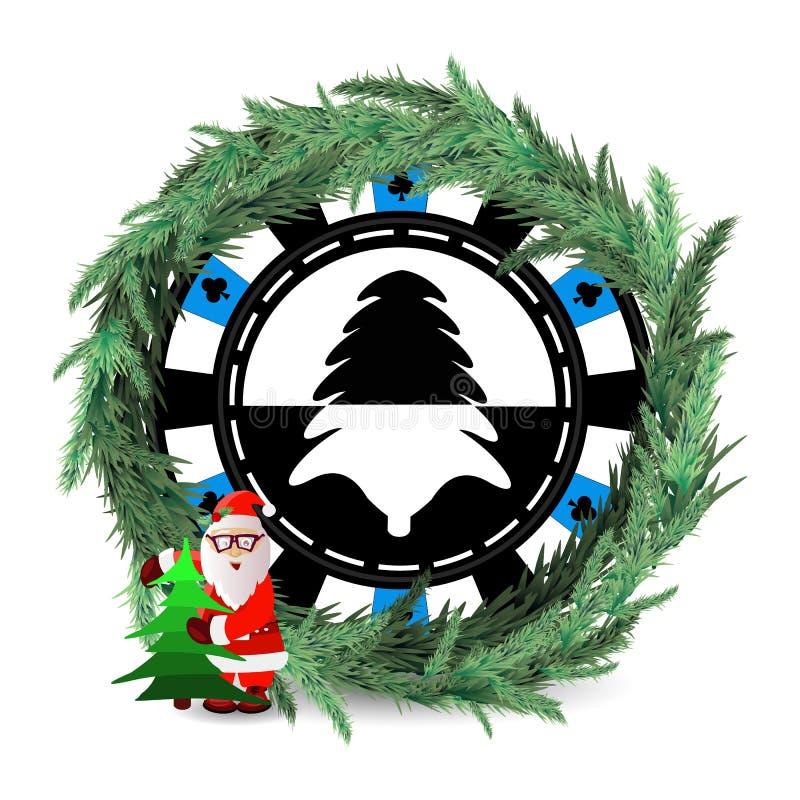 新年和圣诞节假日 一个赌博娱乐场 库存例证