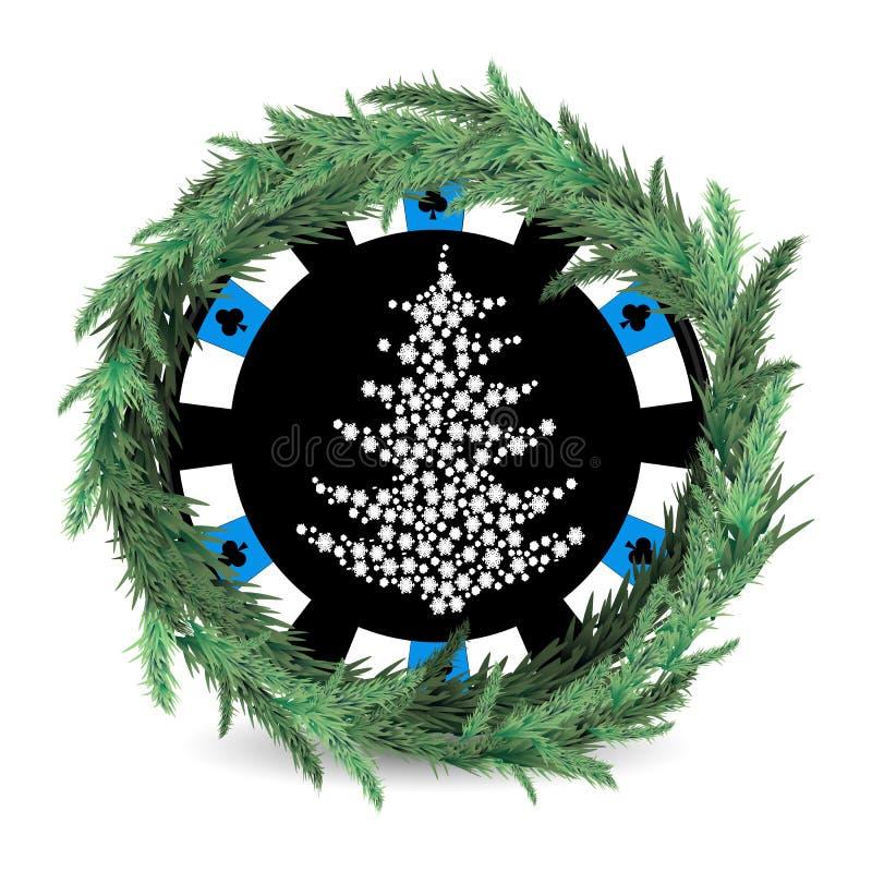 新年和圣诞节假日 一个赌博娱乐场 向量例证