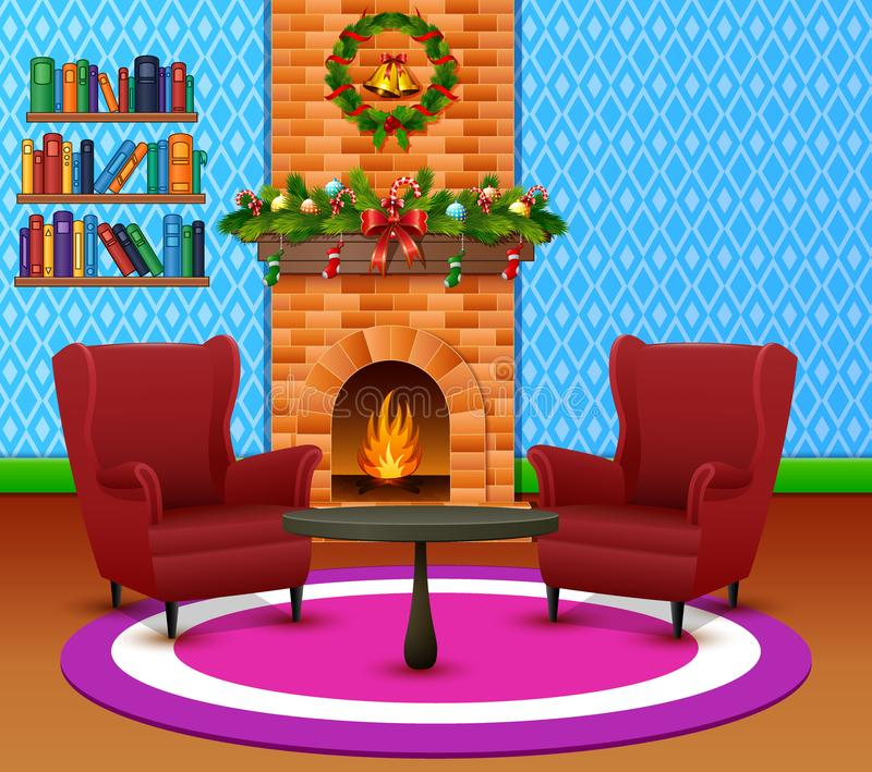 新年和圣诞节庆祝的舒适客厅内部 向量例证