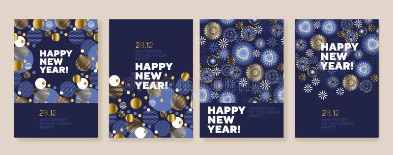 新年和圣诞节海报汇集 库存例证