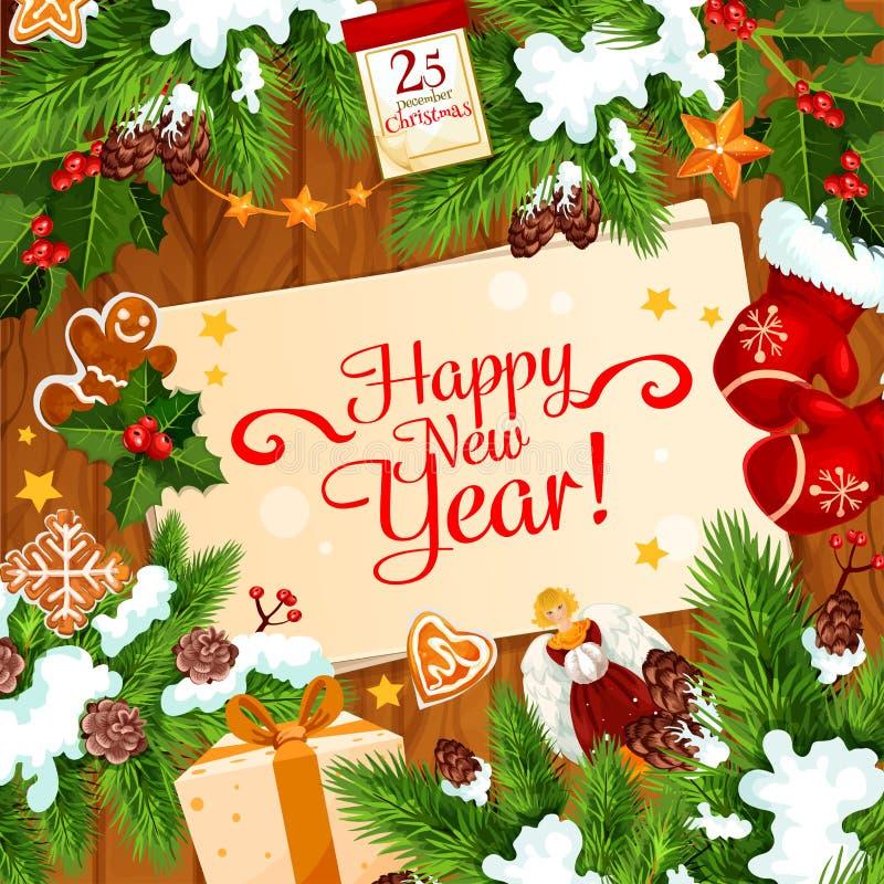 新年圣诞老人礼物传染媒介贺卡 向量例证