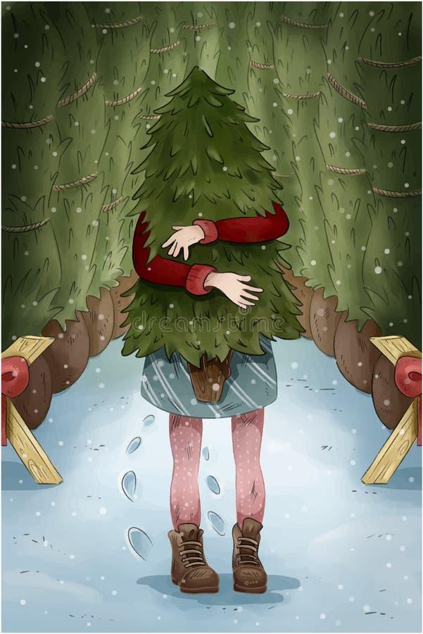 新年圣诞节明信片 圣诞树的女孩购物 皇族释放例证