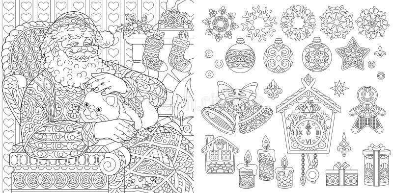 新年圣诞节着色页 向量例证