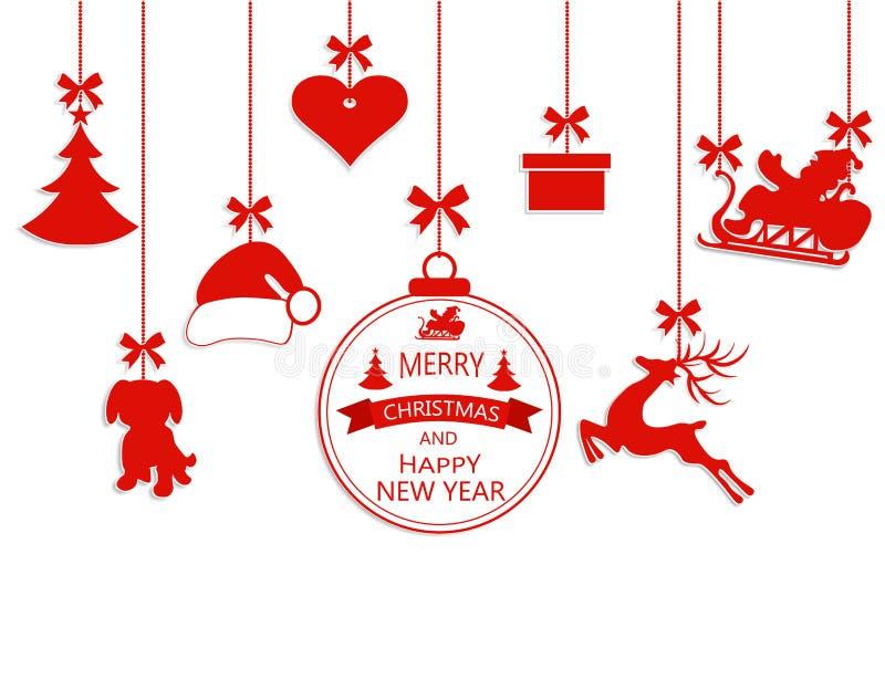 新年圣诞节 各种各样的垂悬的装饰品、圣诞老人帽子、驯鹿、心脏、礼物、狗和被隔绝的圣诞树  皇族释放例证