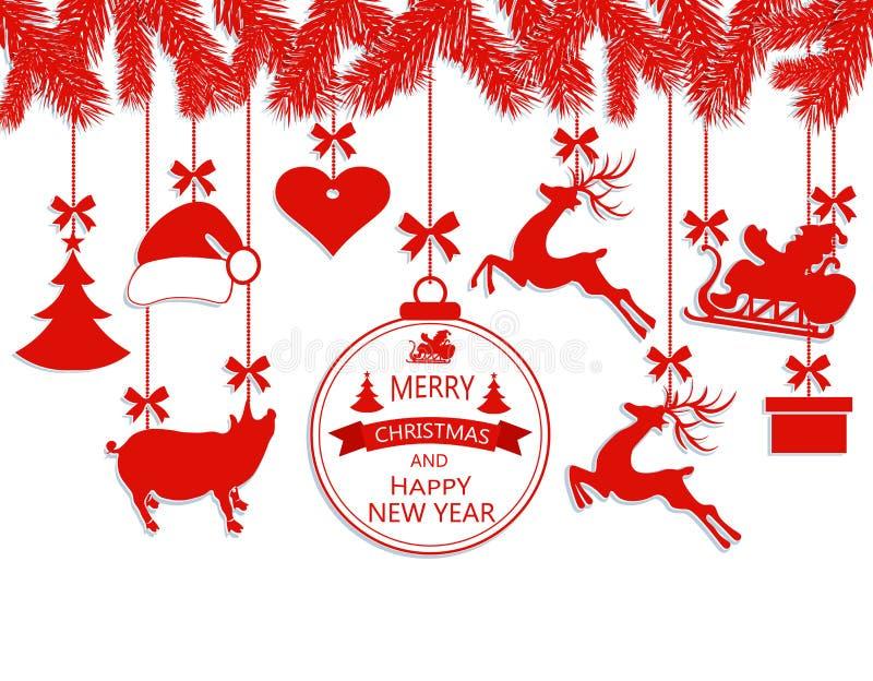 新年圣诞节 垂悬在冷杉分支、圣诞老人项目帽子,鹿、心脏、礼物、猪和圣诞节的各种各样的装饰 向量例证
