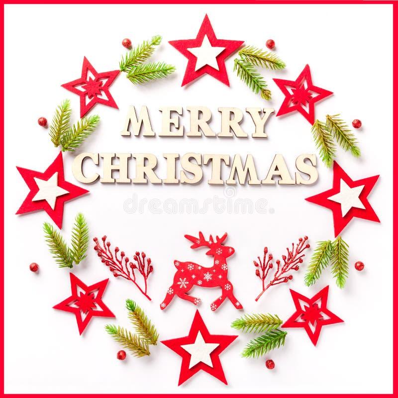 新年在白皮书的贺卡与题字圣诞快乐 库存图片