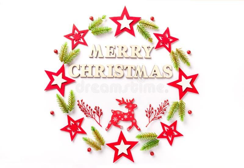 新年在白皮书的贺卡与题字圣诞快乐 免版税库存图片
