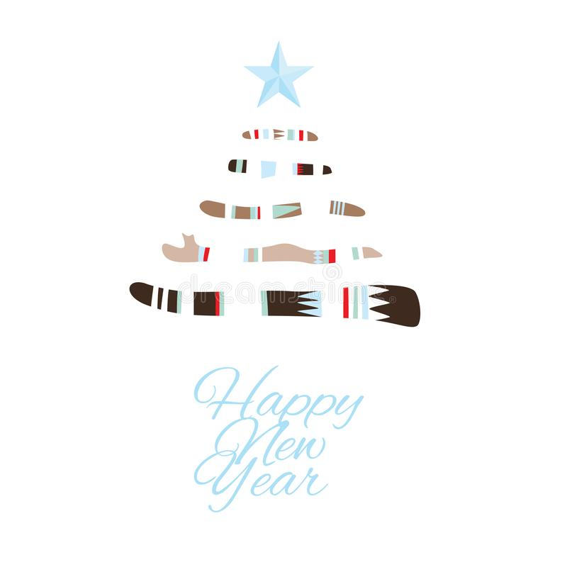 新年好与圣诞树的贺卡在boho样式 皇族释放例证