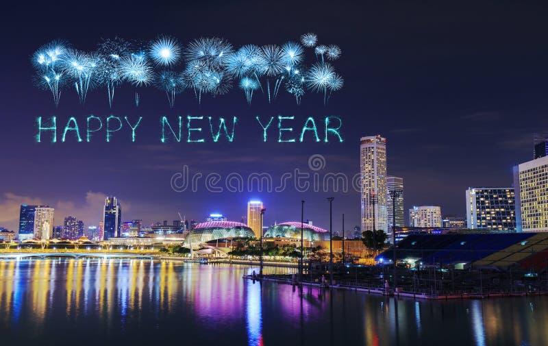 新年好与新加坡市都市风景的烟花闪闪发光  库存图片