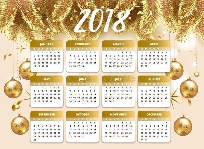2018新年好与日历计划者的设计墙纸 金子和桃红色颜色与圣诞树庆祝背景与金子 库存例证