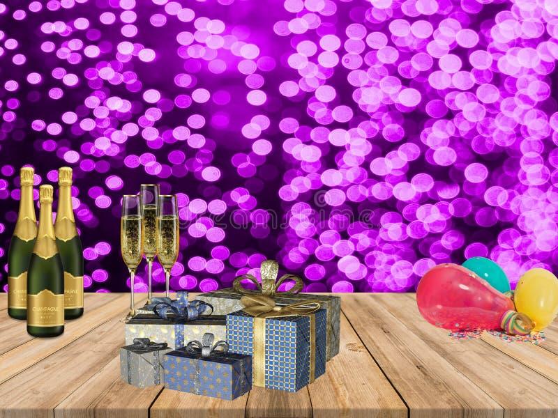 新年好党桌用香槟提出气球和紫色五彩纸屑光背景 免版税库存图片