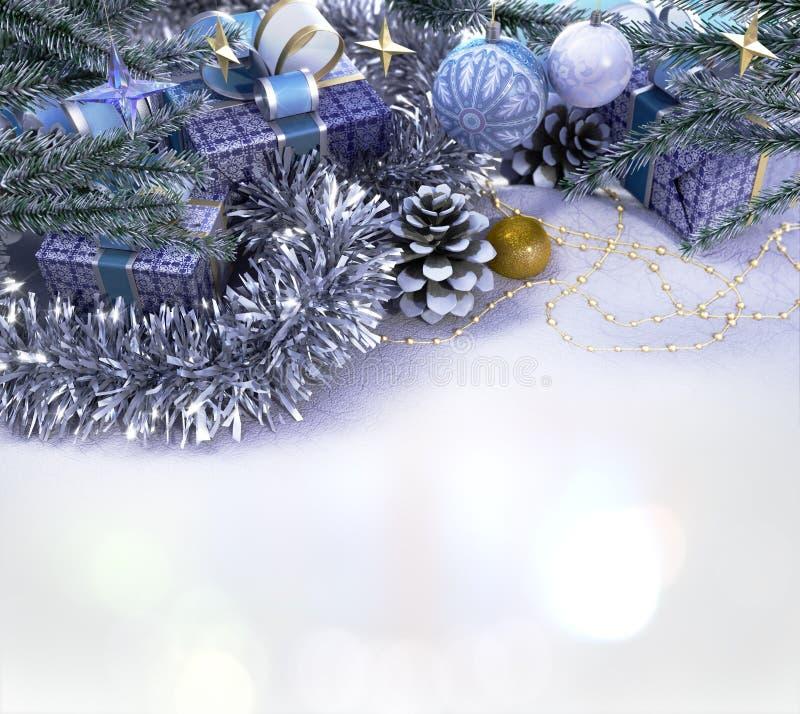 新年好和圣诞快乐构成 免版税库存照片