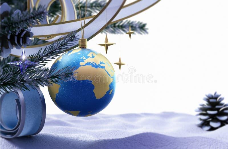 新年好和圣诞快乐背景 皇族释放例证