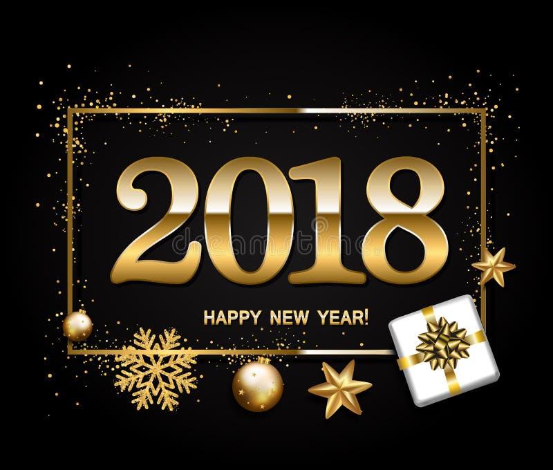 新年好在黑背景的设计版面与2018年 礼品 向量例证