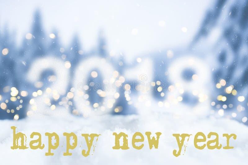 新年好贺卡有多雪的bokeh背景 库存图片