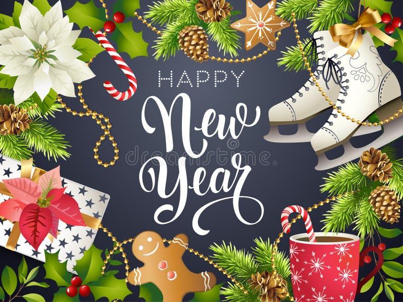 新年好题材、xmas党2018年金子的传染媒介例证和文本圣诞节的黑collors地方 向量例证