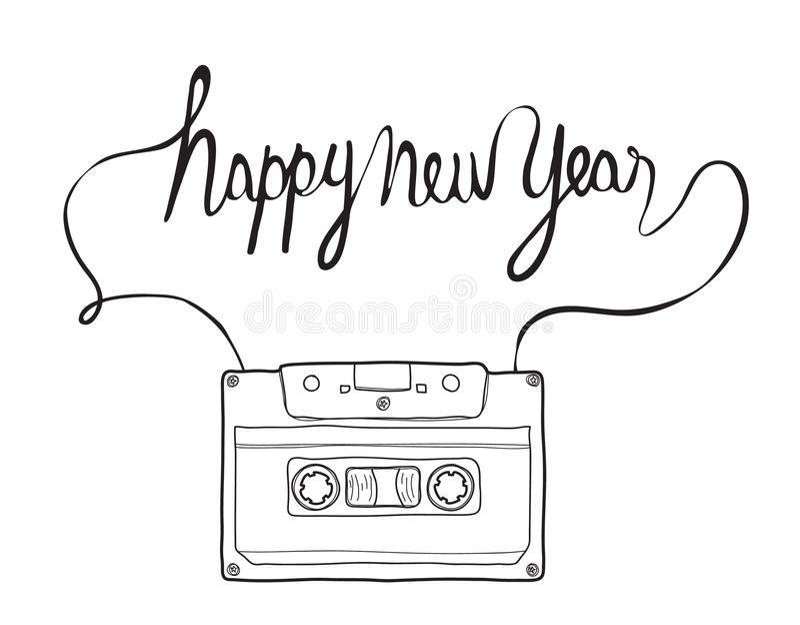 新年好,紧凑卡式磁带, musicassette手拉的vecto.