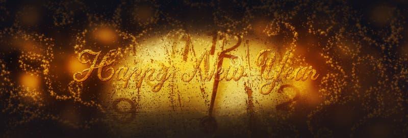 新年好 与拨号盘时钟的冬天庆祝在夜空 皇族释放例证