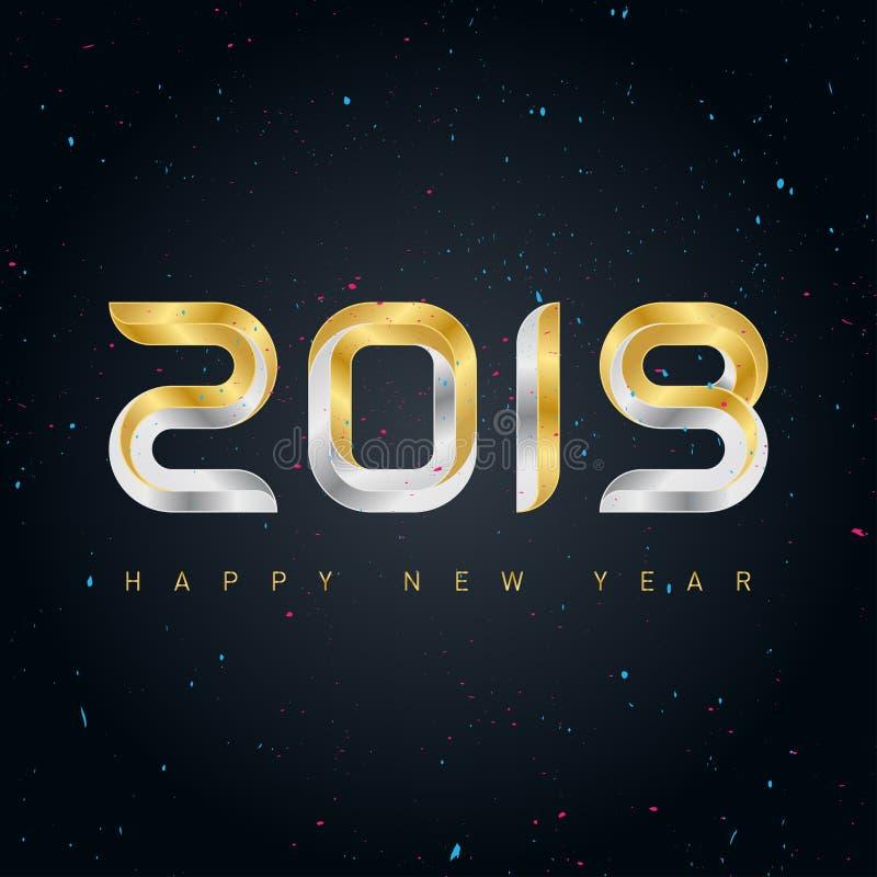 新年好2019与金子和银lette的传染媒介背景 库存例证