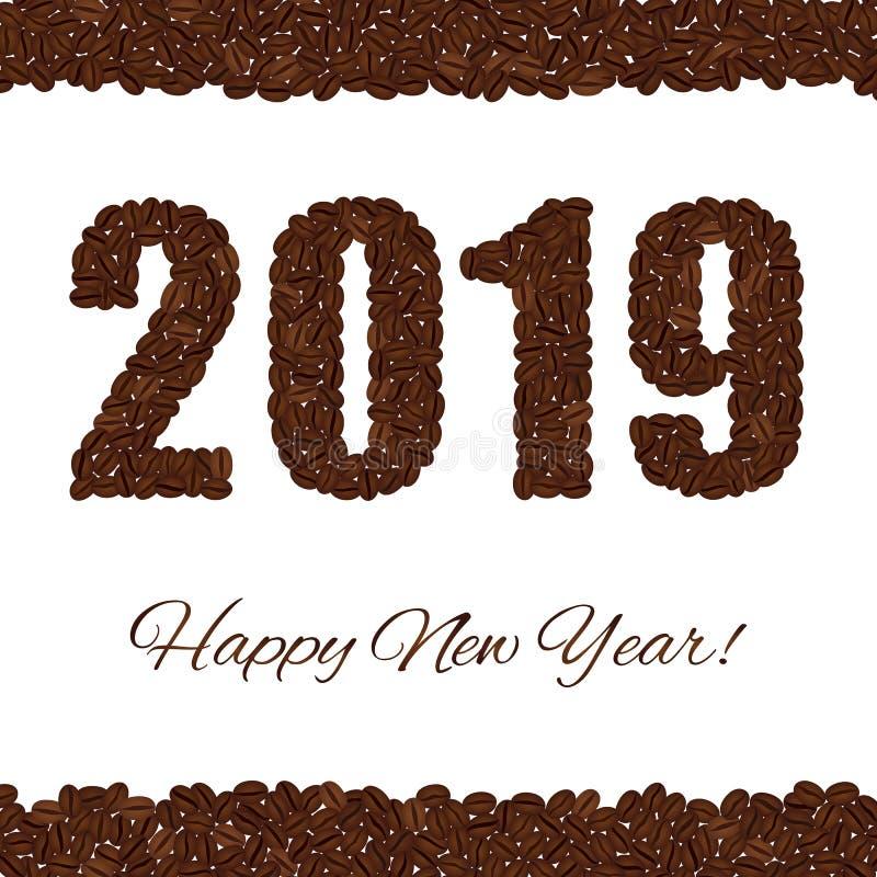 新年好 从咖啡豆创造的2019隔绝在白色背景 皇族释放例证