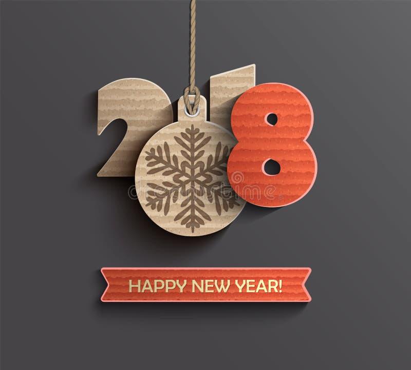 新年好2018在纸样式的设计卡片 皇族释放例证