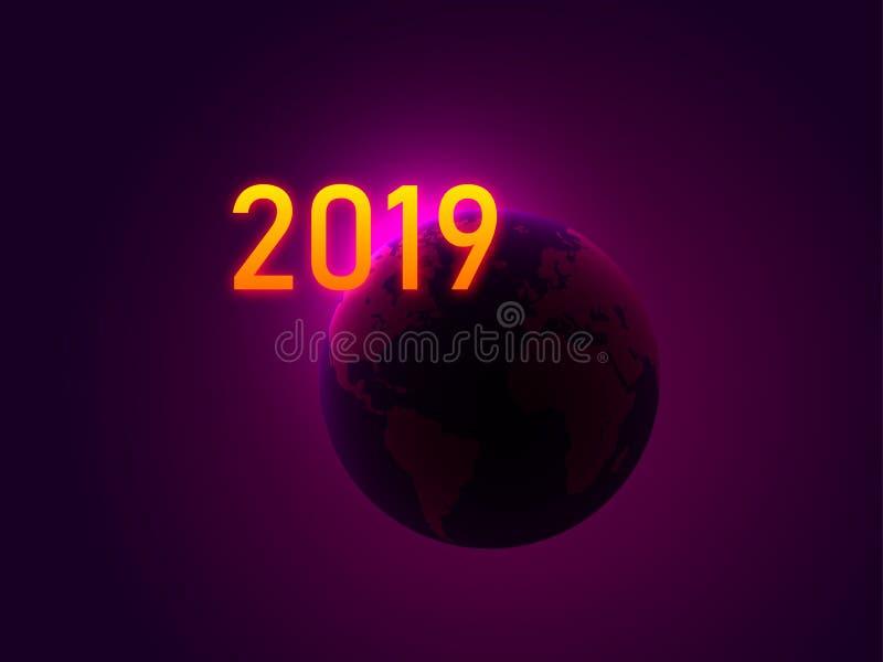 新年好 在行星地球的背景的霓虹第2019年 也corel凹道例证向量 库存例证