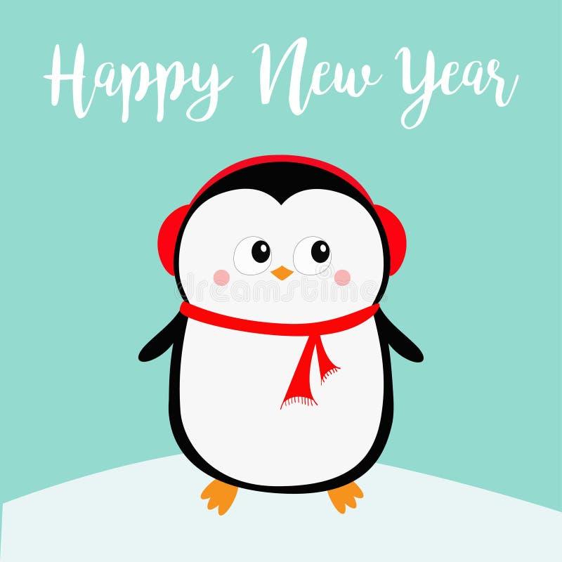 新年好 在随风飘飞的雪的企鹅 红色耳机帽子 快活的圣诞节 逗人喜爱的动画片kawaii婴孩字符 北极动物 平面 向量例证