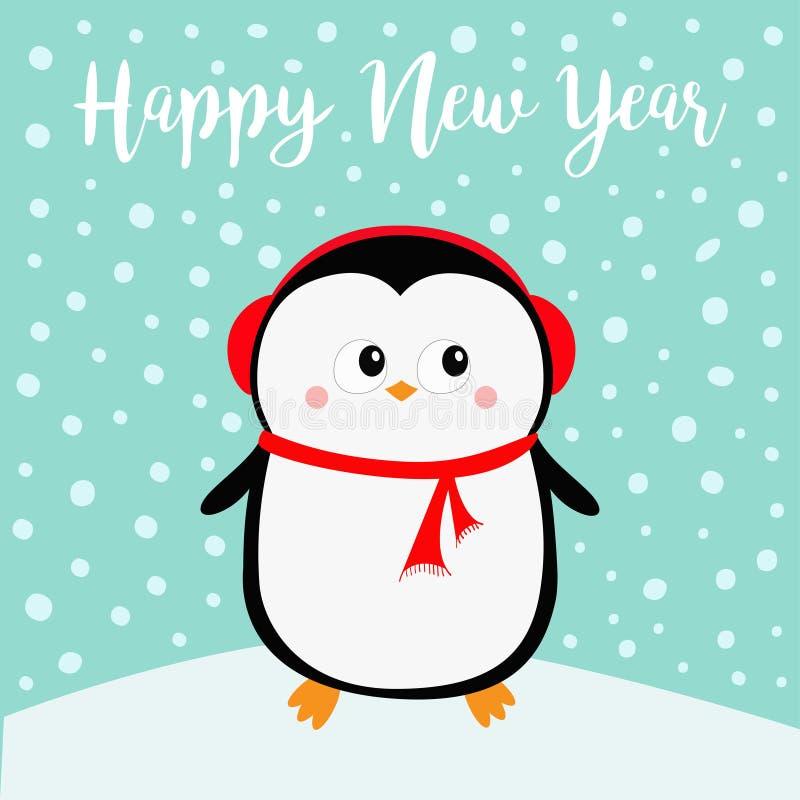 新年好 在随风飘飞的雪的企鹅 红色耳机帽子 快活的圣诞节 逗人喜爱的动画片kawaii婴孩字符 北极动物 平面 库存例证